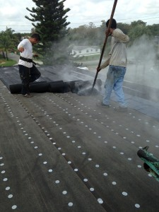 Hot mop on conventional roof
