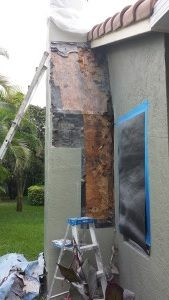 fix stucco damage on chimney